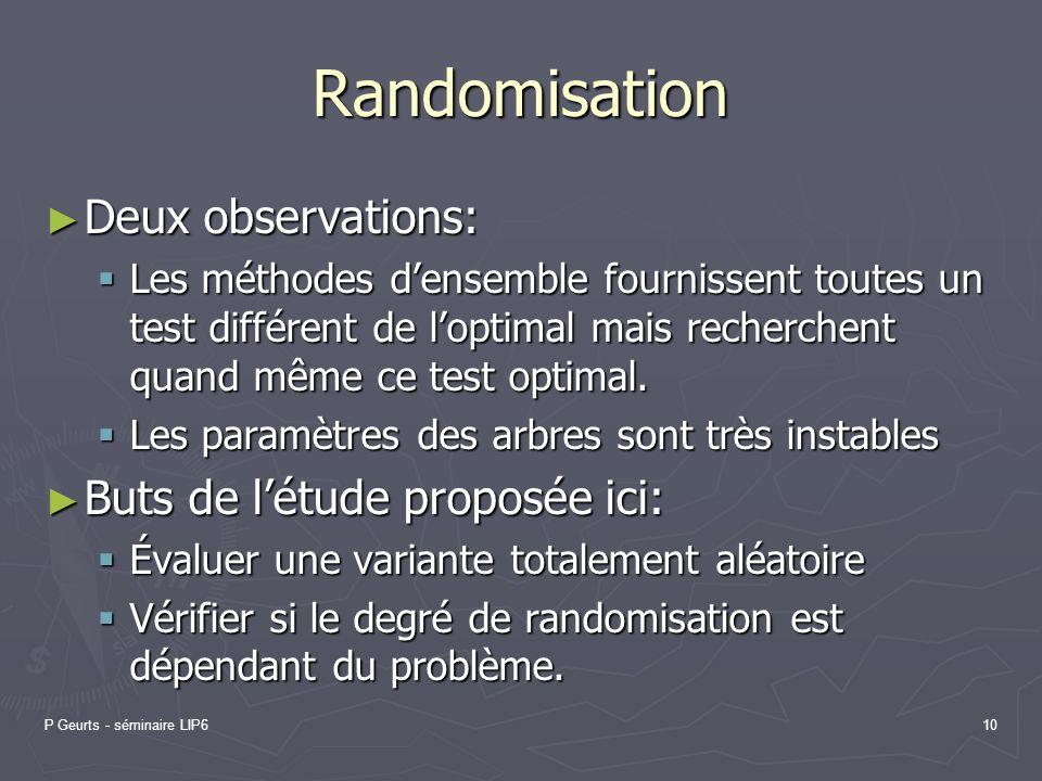 Randomisation Deux observations: Buts de l'étude proposée ici: