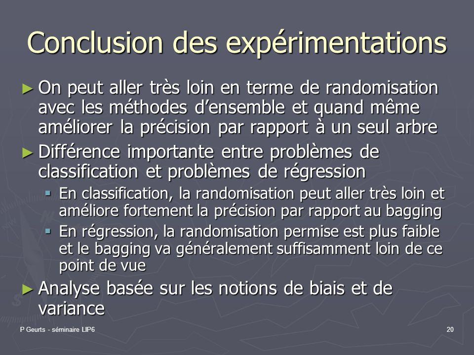 Conclusion des expérimentations
