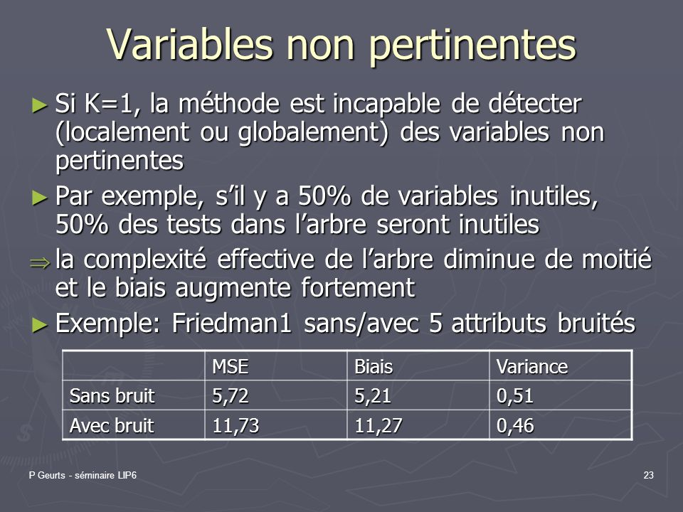 Variables non pertinentes