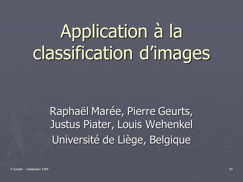 Application à la classification d'images