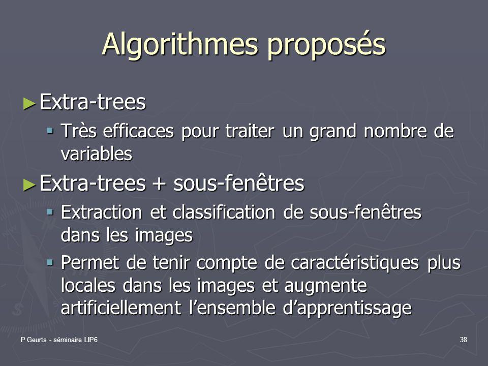 Algorithmes proposés Extra-trees Extra-trees + sous-fenêtres