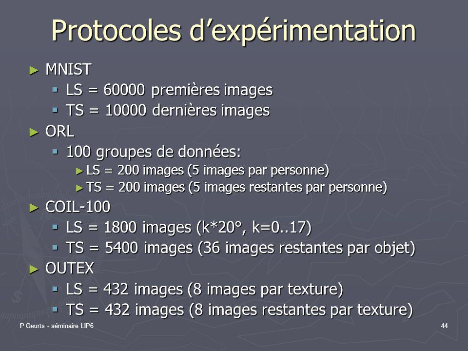 Protocoles d'expérimentation