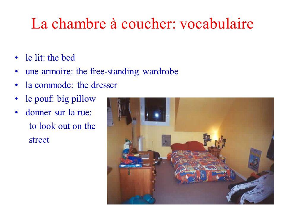 La chambre à coucher: vocabulaire