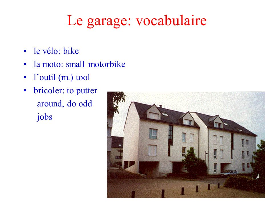 Le garage: vocabulaire