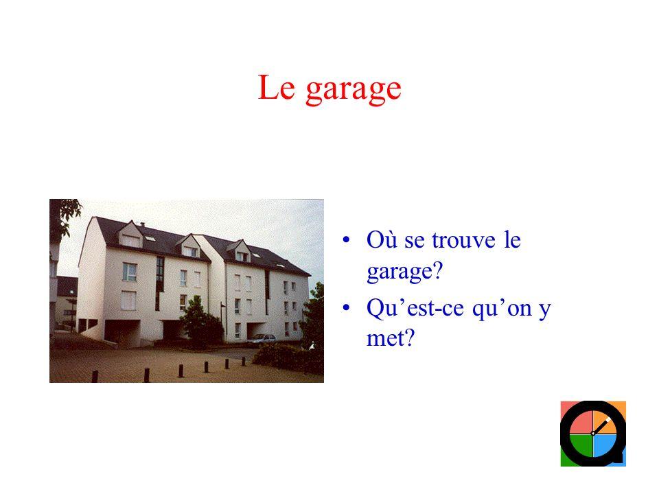 Le garage Où se trouve le garage Qu'est-ce qu'on y met