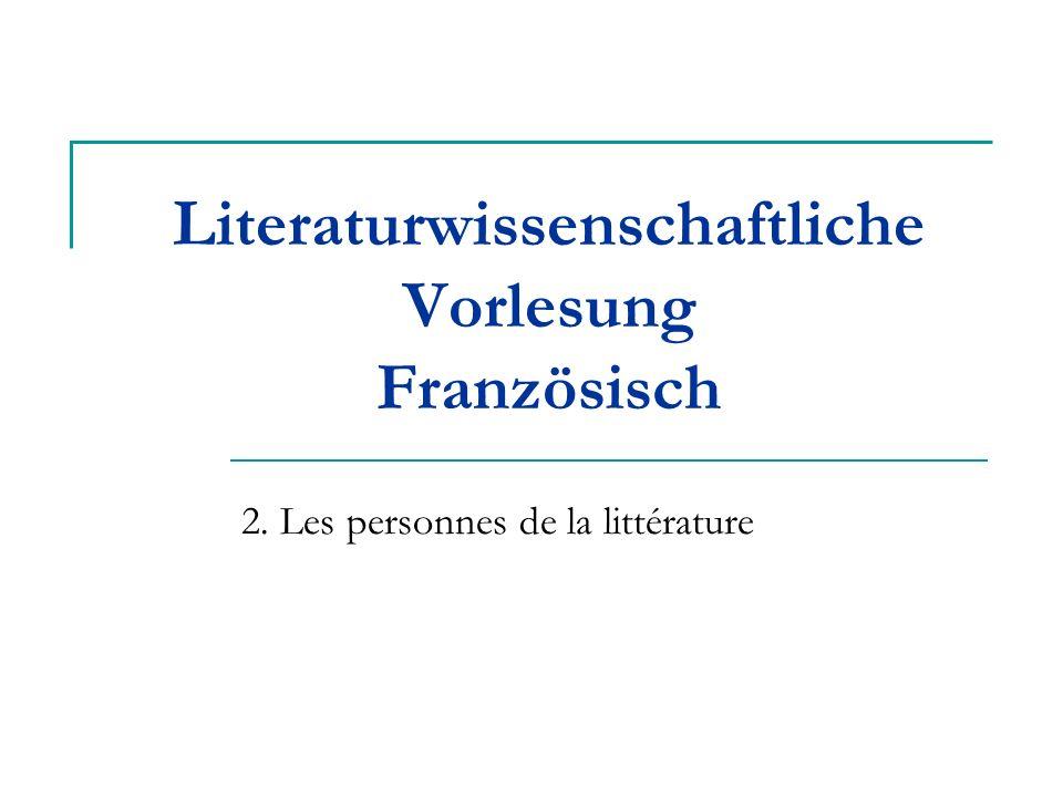 Literaturwissenschaftliche Vorlesung Französisch
