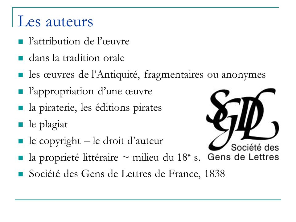 Les auteurs l'attribution de l'œuvre dans la tradition orale