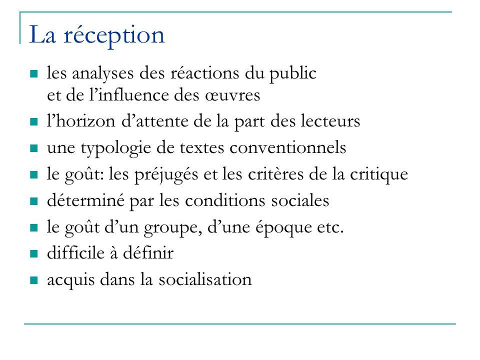 La réception les analyses des réactions du public et de l'influence des œuvres. l'horizon d'attente de la part des lecteurs.