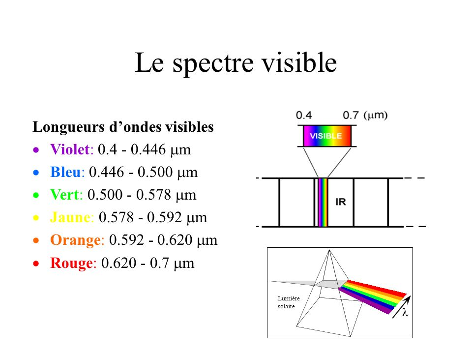 Le spectre visible Longueurs d'ondes visibles Violet: 0.4 - 0.446 mm