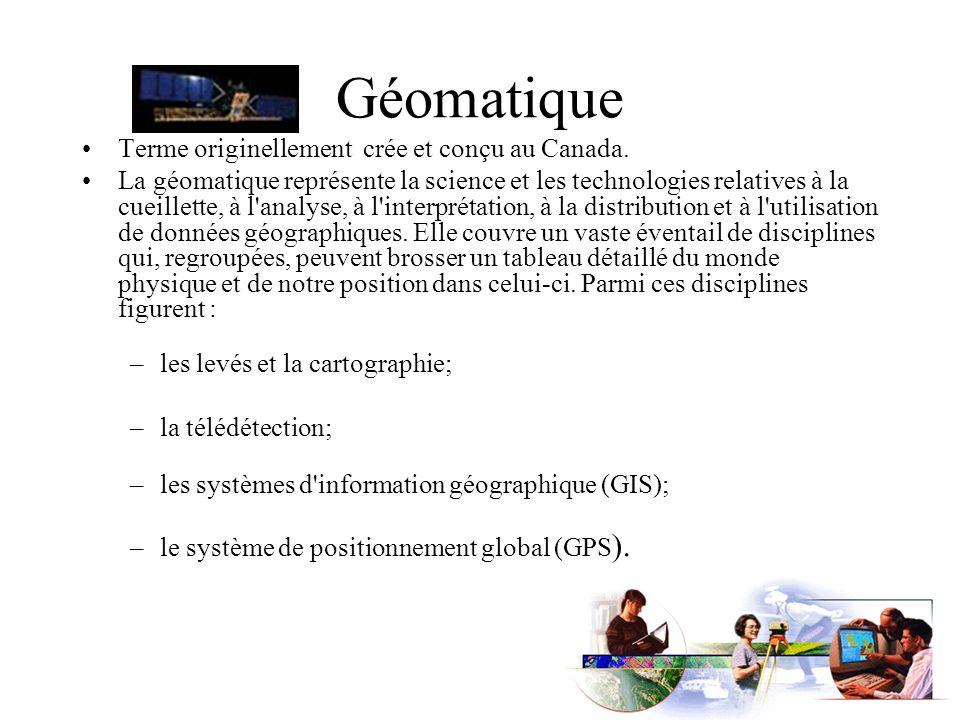 Géomatique Terme originellement crée et conçu au Canada.
