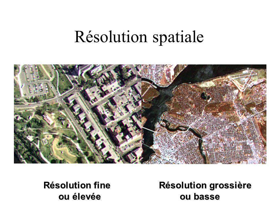 Résolution spatiale Résolution fine Résolution grossière ou élevée ou basse.