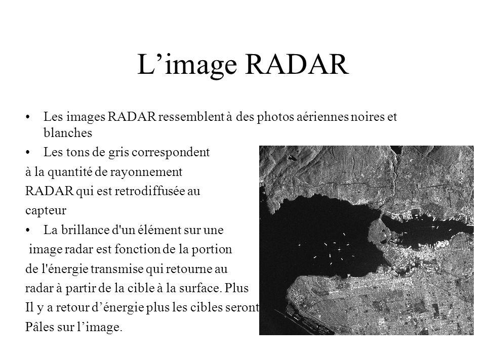 L'image RADAR Les images RADAR ressemblent à des photos aériennes noires et blanches. Les tons de gris correspondent.