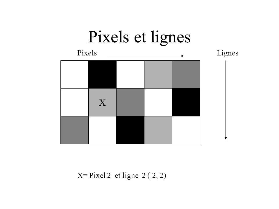 Pixels et lignes Pixels Lignes X= Pixel 2 et ligne 2 ( 2, 2) X
