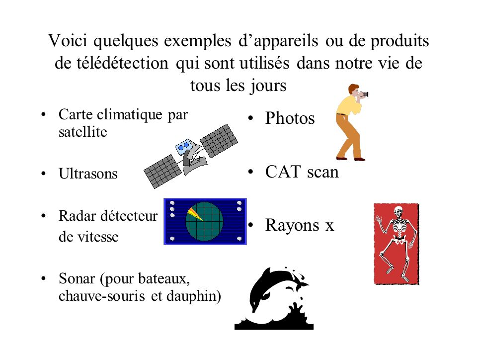 Voici quelques exemples d'appareils ou de produits de télédétection qui sont utilisés dans notre vie de tous les jours