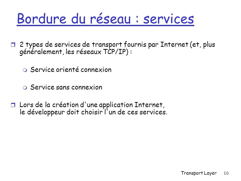 Bordure du réseau : services