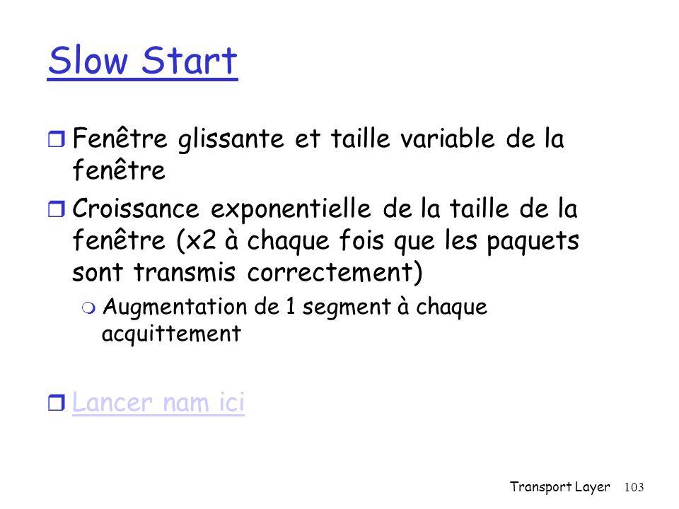 Slow Start Fenêtre glissante et taille variable de la fenêtre