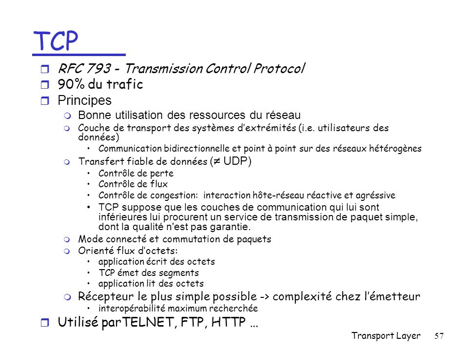 TCP RFC 793 - Transmission Control Protocol 90% du trafic Principes