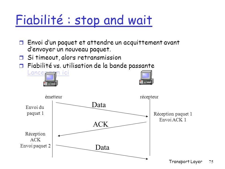 Fiabilité : stop and wait