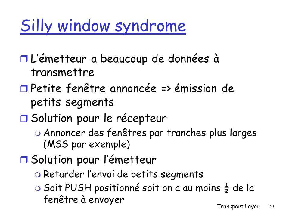 Silly window syndrome L'émetteur a beaucoup de données à transmettre