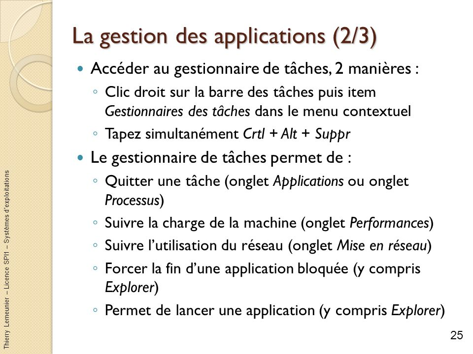 La gestion des applications (2/3)