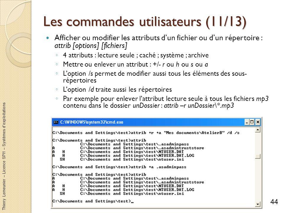 Les commandes utilisateurs (11/13)