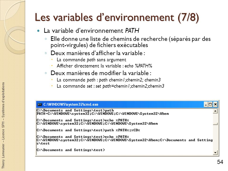 Les variables d'environnement (7/8)