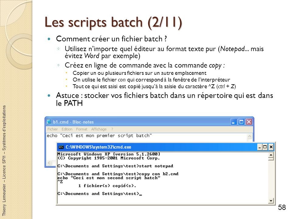 Les scripts batch (2/11) Comment créer un fichier batch