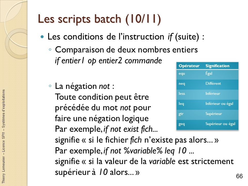 Les scripts batch (10/11) Les conditions de l'instruction if (suite) :