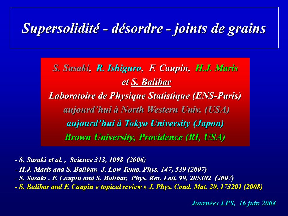 Supersolidité - désordre - joints de grains