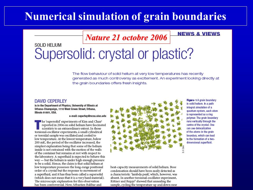 Numerical simulation of grain boundaries