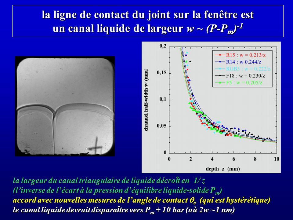 la ligne de contact du joint sur la fenêtre est un canal liquide de largeur w ~ (P-Pm)-1