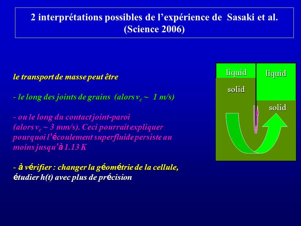 2 interprétations possibles de l'expérience de Sasaki et al