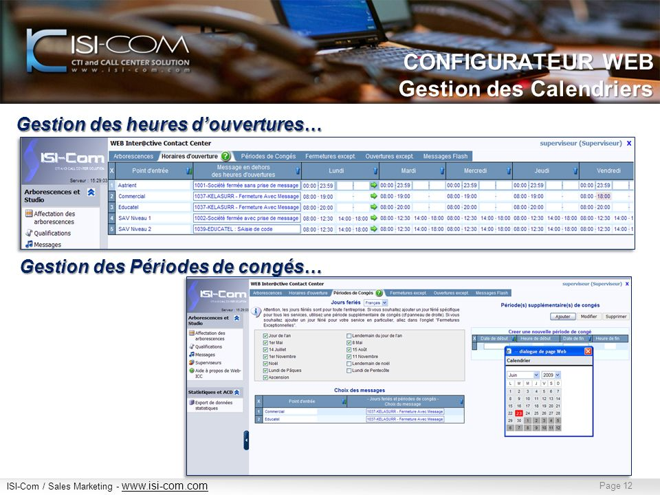 CONFIGURATEUR WEB Gestion des Calendriers