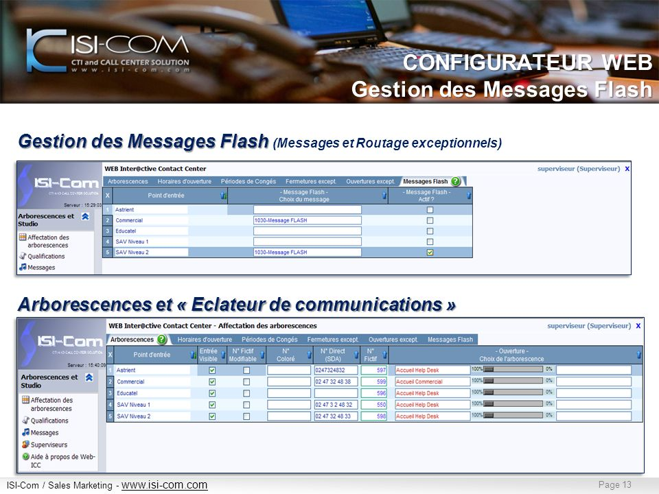 CONFIGURATEUR WEB Gestion des Messages Flash