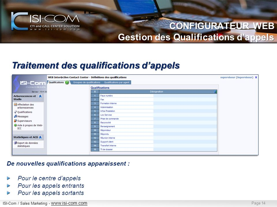 CONFIGURATEUR WEB Gestion des Qualifications d'appels