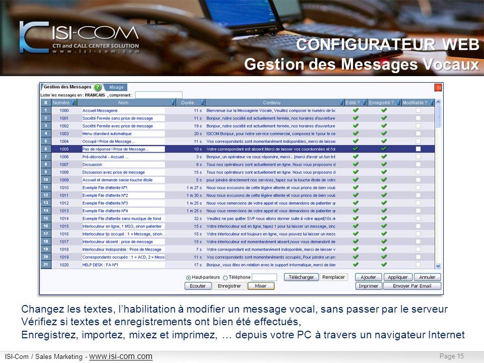 CONFIGURATEUR WEB Gestion des Messages Vocaux