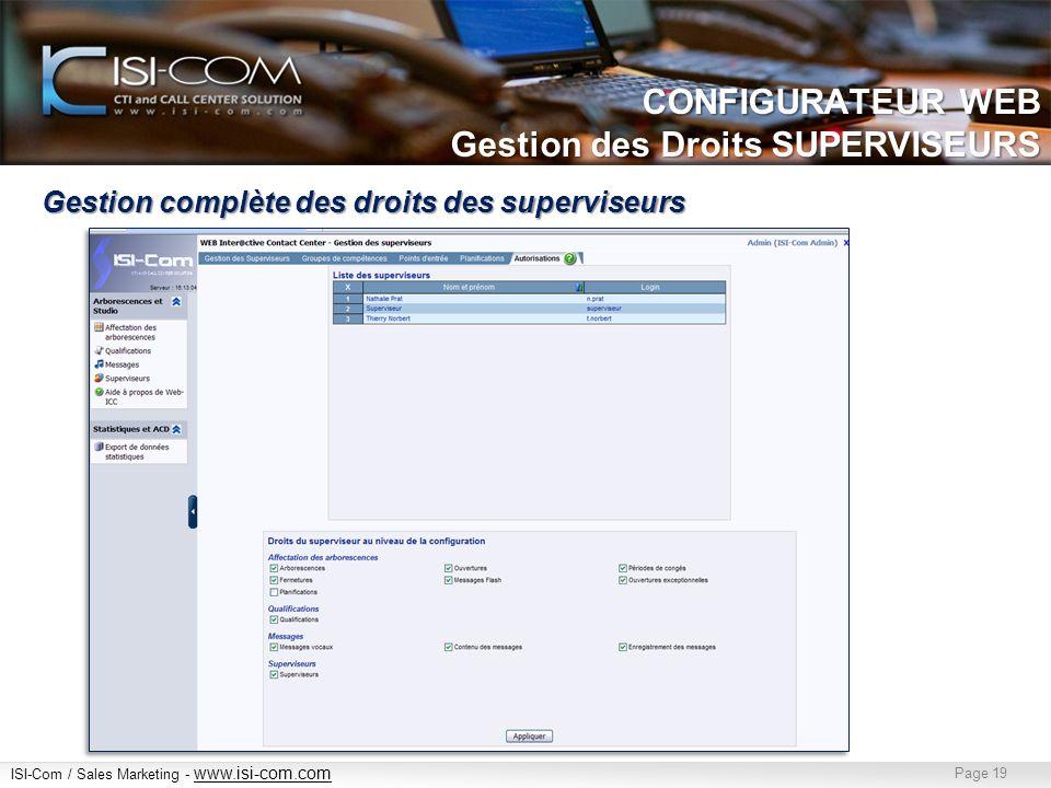 CONFIGURATEUR WEB Gestion des Droits SUPERVISEURS