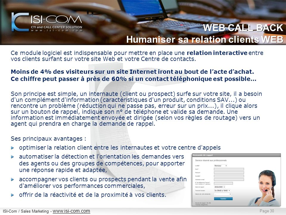 WEB CALL BACK Humaniser sa relation clients WEB