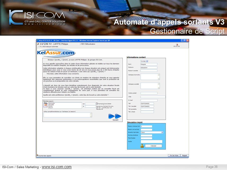 Automate d'appels sortants V3 Gestionnaire de Script