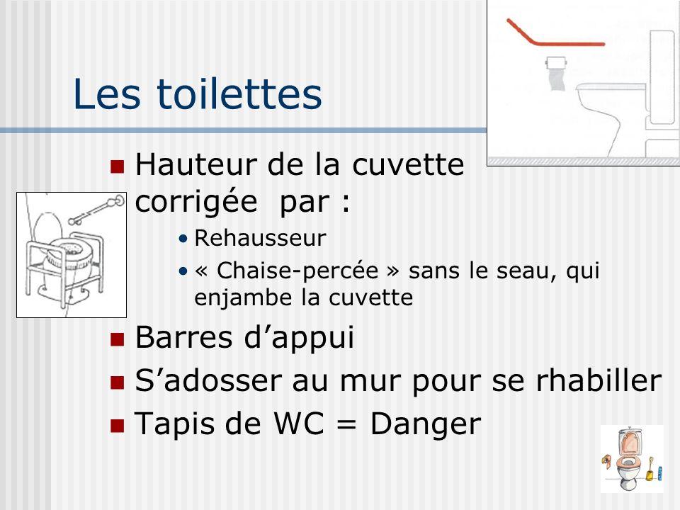 Les toilettes Hauteur de la cuvette corrigée par : Barres d'appui