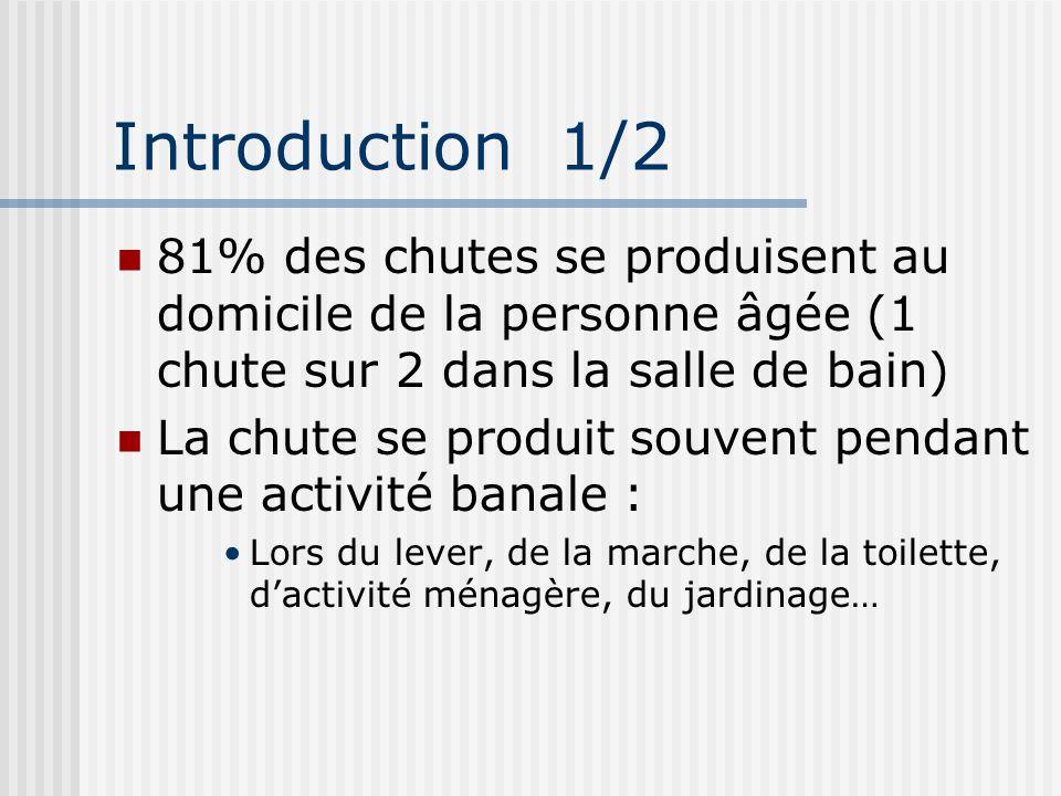 Introduction 1/2 81% des chutes se produisent au domicile de la personne âgée (1 chute sur 2 dans la salle de bain)