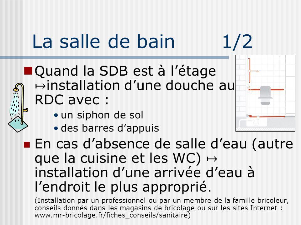 La salle de bain 1/2 Quand la SDB est à l'étage ↦installation d'une douche au RDC avec :