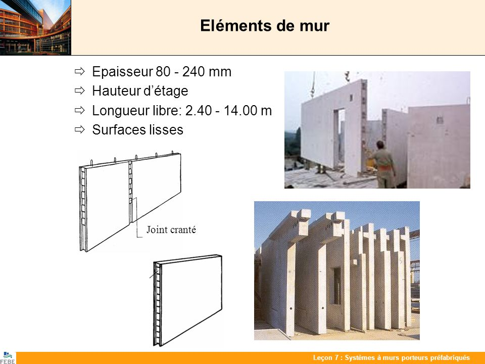 Eléments de mur  Epaisseur 80 - 240 mm  Hauteur d'étage