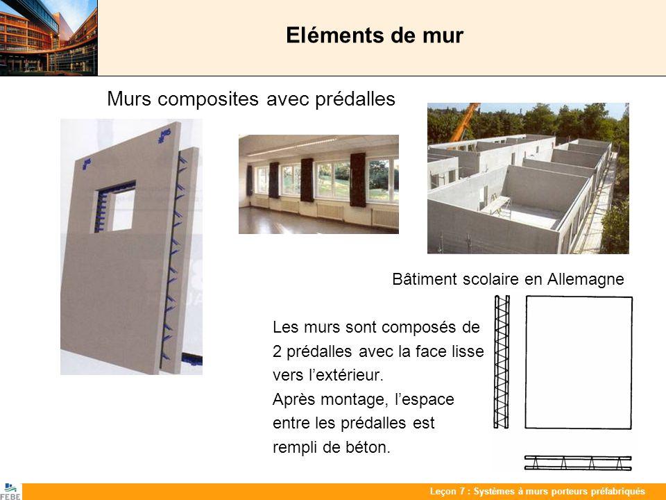 Eléments de mur Murs composites avec prédalles