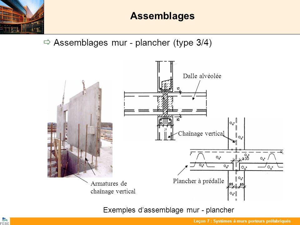 Assemblages  Assemblages mur - plancher (type 3/4)