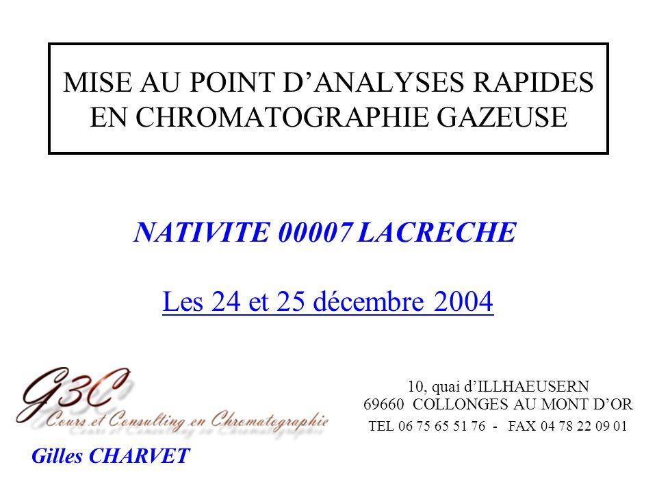 MISE AU POINT D'ANALYSES RAPIDES EN CHROMATOGRAPHIE GAZEUSE