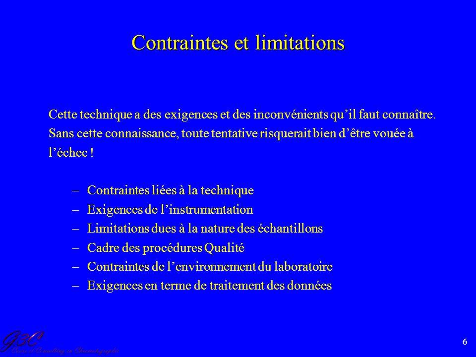 Contraintes et limitations