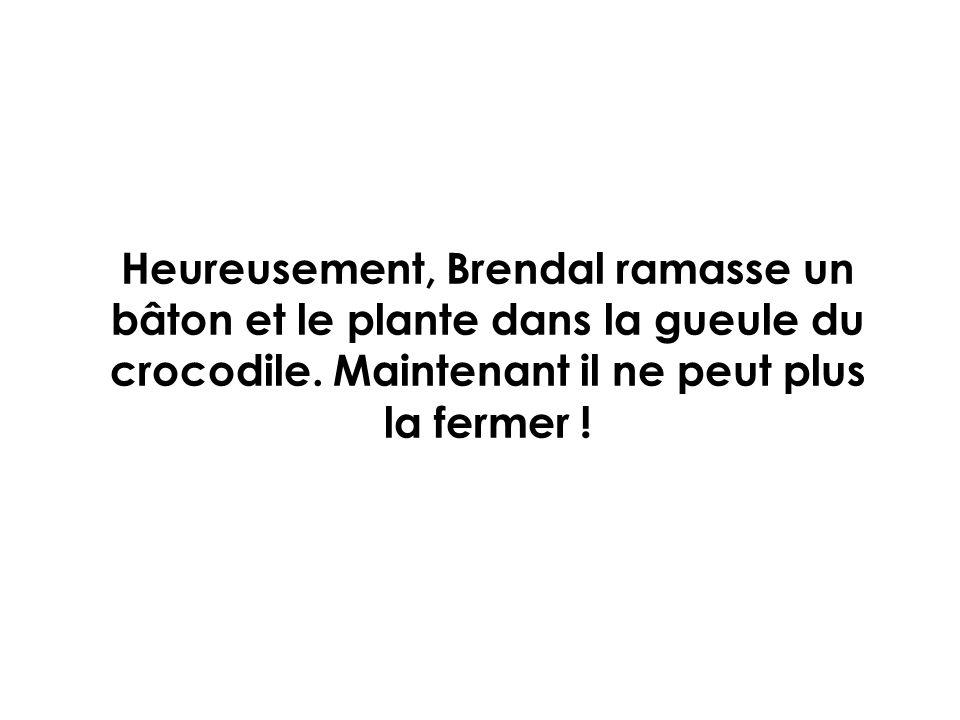 Heureusement, Brendal ramasse un bâton et le plante dans la gueule du crocodile.