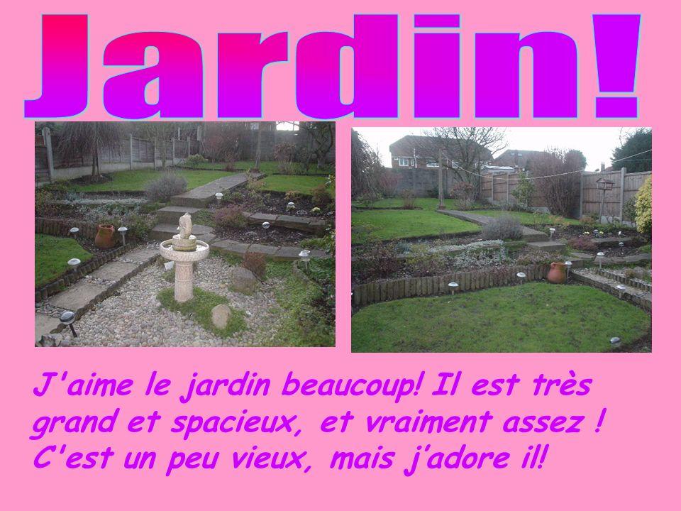 Jardin. J aime le jardin beaucoup. Il est très grand et spacieux, et vraiment assez .