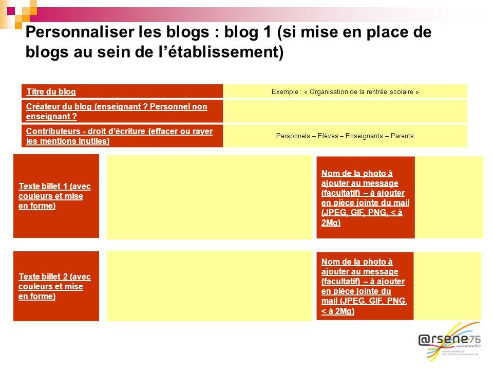 Personnaliser les blogs : blog 1 (si mise en place de blogs au sein de l'établissement)